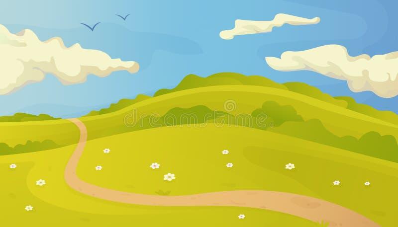 Ljust sommarvektorlandskap med slingan i gräset och molnen på blå himmel vektor illustrationer