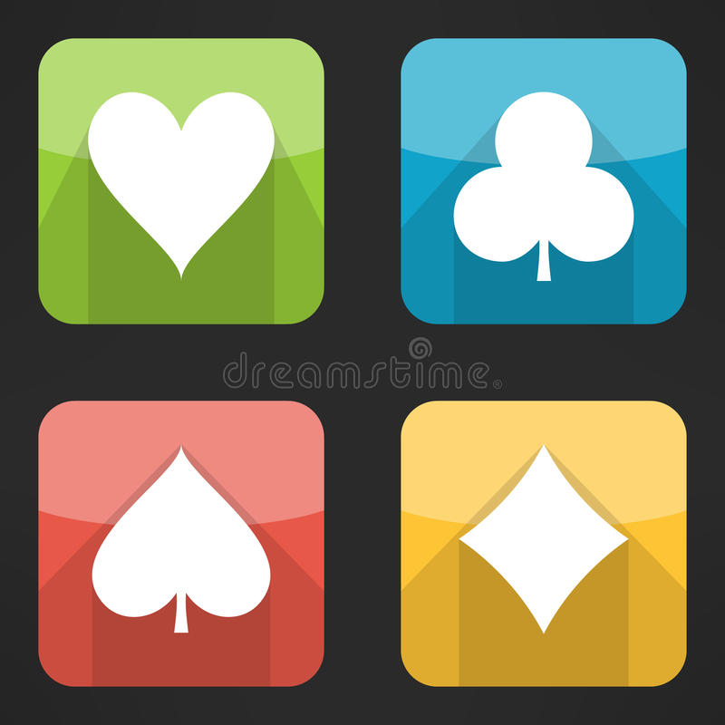 Ljust spela cards dräkter som symboler ställer in i modernt stock illustrationer