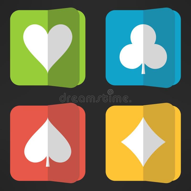 Ljust spela cards dräkter som symboler ställer in i rengöring royaltyfri illustrationer