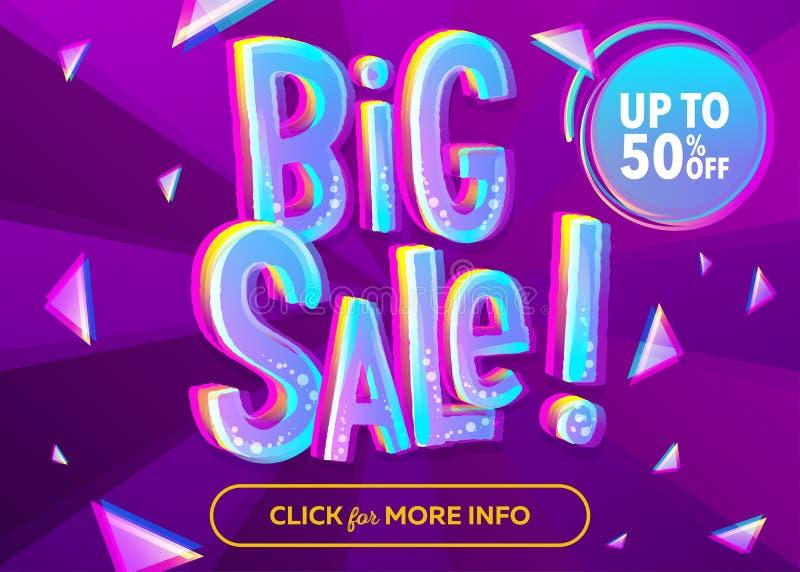 Ljust stort Sale baner med stiltext för tecknad film 3D Roliga Discoun stock illustrationer