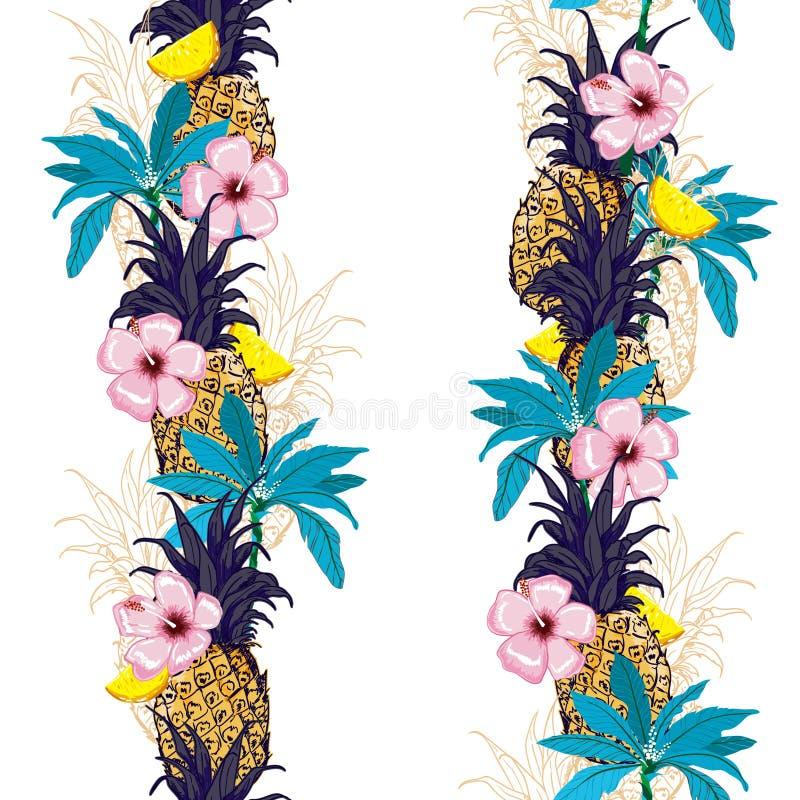 Ljust tropiskt för moderiktig sommar i bandlinje med ananasoutl vektor illustrationer