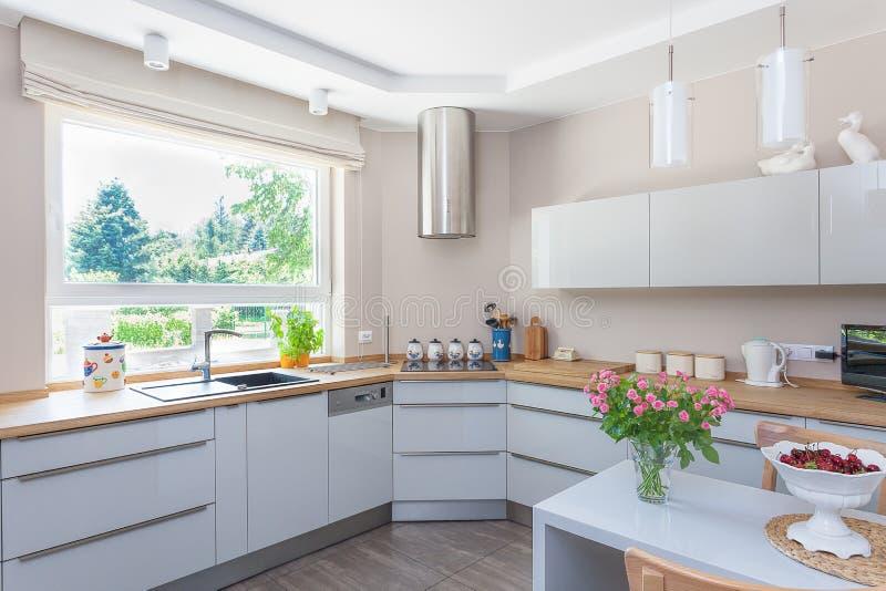 Ljust utrymme - kök fotografering för bildbyråer