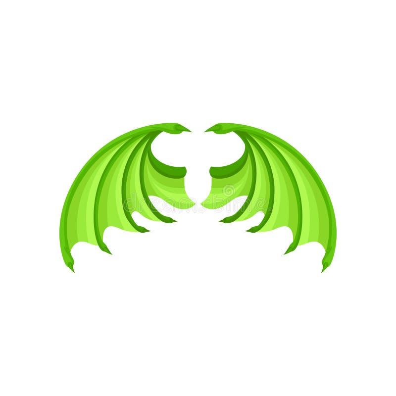 Ljust - vingar för grön drake Attribut av ungemaskeraddräkten Plan vektorbeståndsdel för barnbok eller klistermärke stock illustrationer