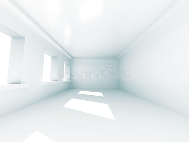 Ljust vitt rum med Windows för lokalsofa för bakgrund inre white för tappning royaltyfri foto