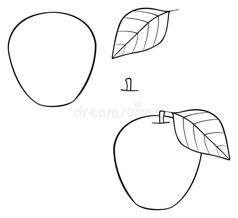 Ljuv trädgård - trevligt tankeskapelseäpple med ett blad royaltyfri illustrationer
