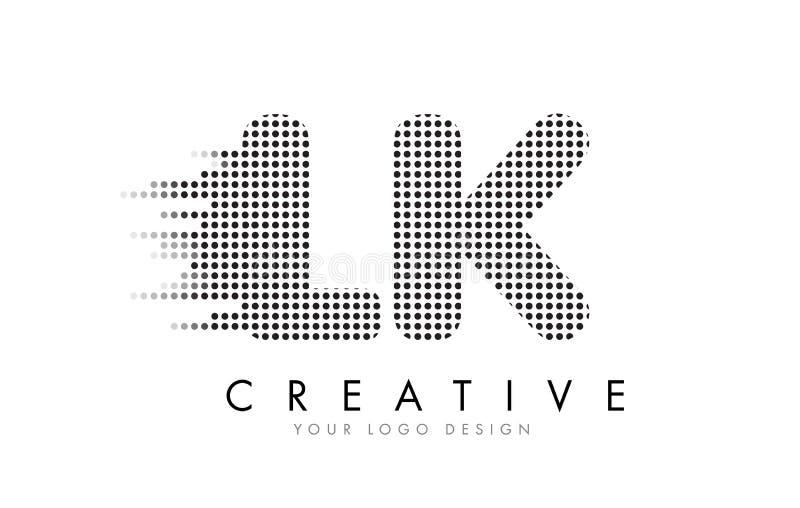 LK L K Letter Logo with Black Dots and Trails. vector illustration