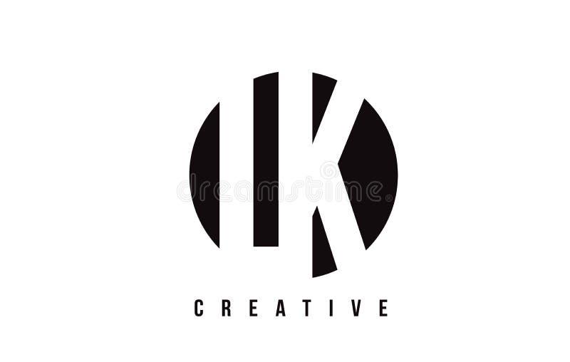 LK L K White Letter Logo Design with Circle Background. stock illustration