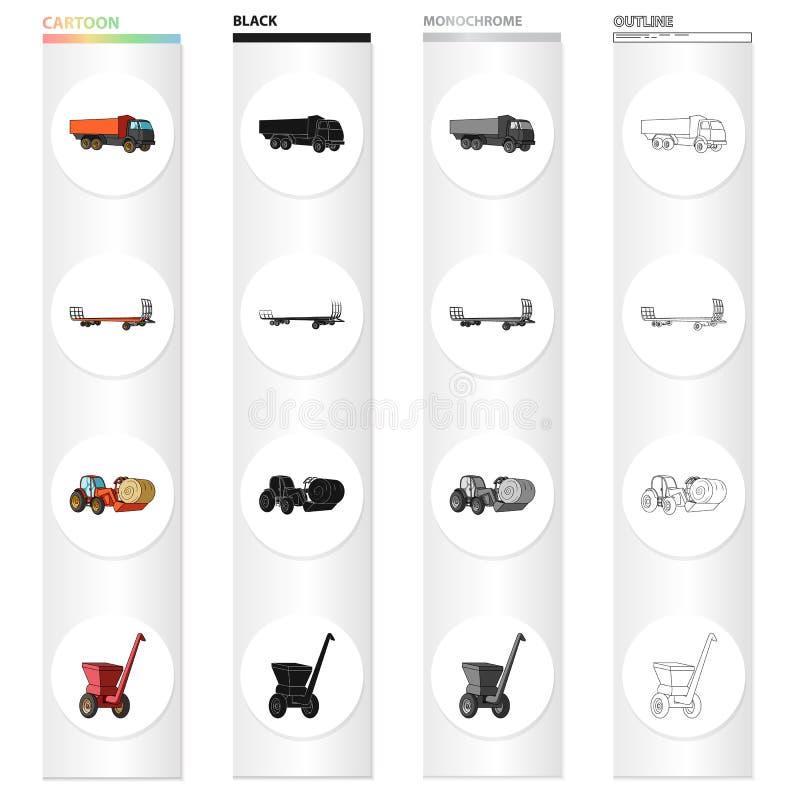 LKW, Anhänger für Heu, Traktor mit einer Rolle des Heus, mobiler Zerhacker Verschiedene Arten des Satzes der landwirtschaftlichen vektor abbildung
