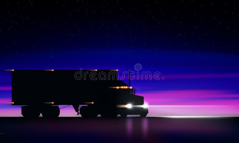 LKW, der Landstraße nachts weitergeht Trockener Packwagen der klassischen großen der Anlage LKW-Scheinwerfer halb in der Dunkelhe stock abbildung