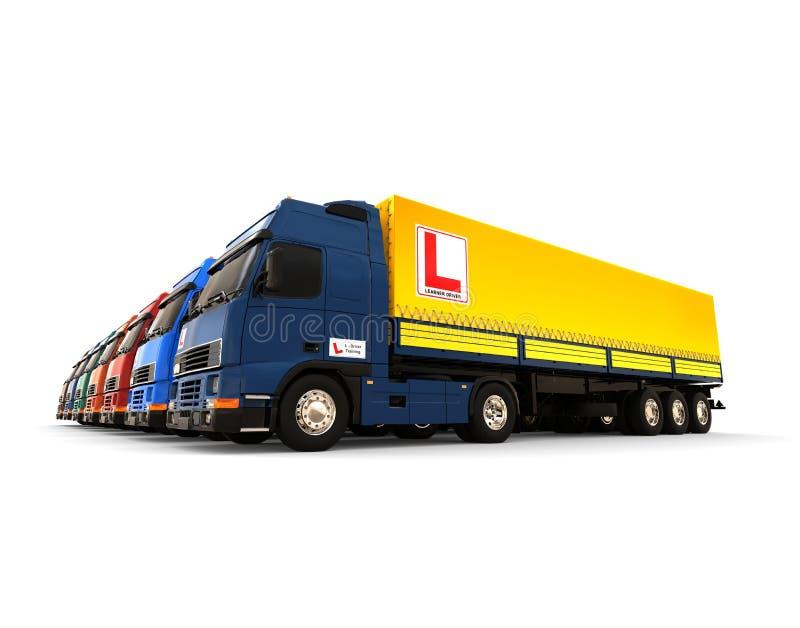 LKW-Flotte mit Fahrschulezeichenkonzept lizenzfreie abbildung