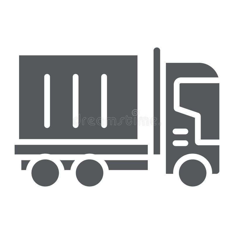 LKW-Fracht Glyphikone, Transport und Lieferung, Lastwagenzeichen, Vektorgrafik, ein festes Muster auf einem weißen Hintergrund stock abbildung