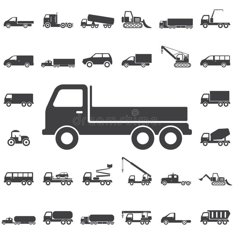 LKW-Ikonen auf weißem Hintergrund stockbild