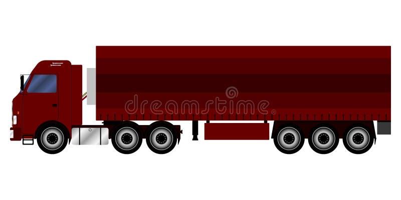 LKW mit einem Anhänger, der Fracht transportiert stock abbildung