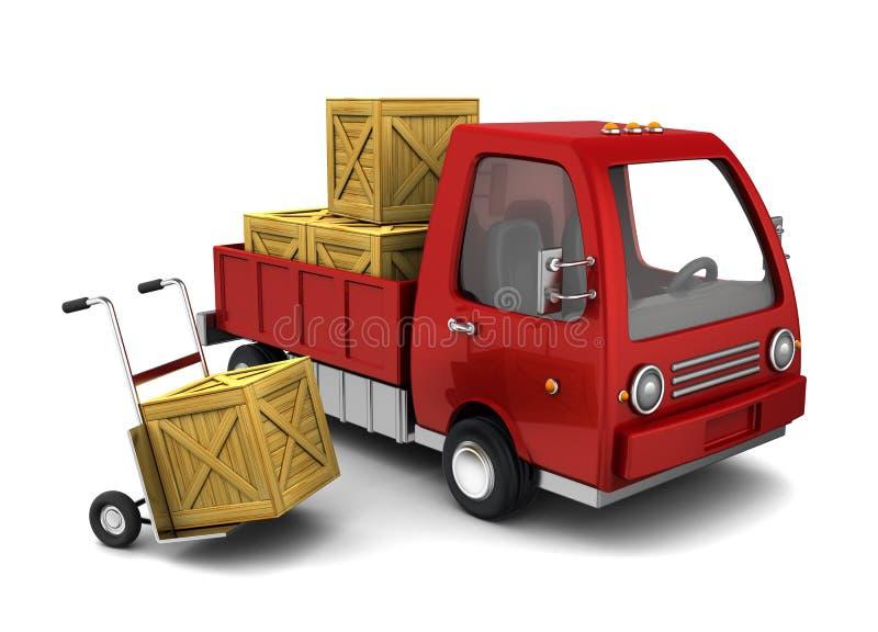 LKW mit Kisten lizenzfreie abbildung