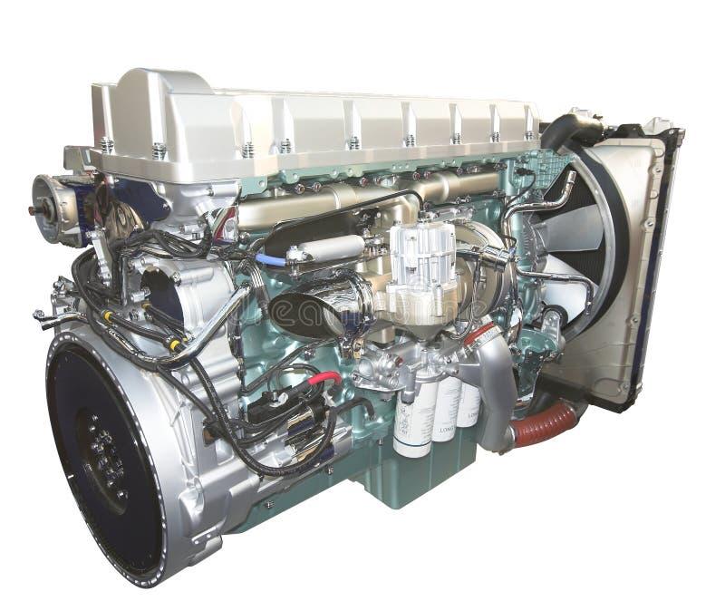 LKW-Motor, getrennt auf Weiß stockbild
