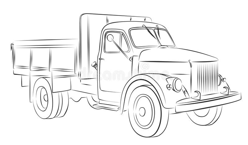 LKW-Skizze vektor abbildung. Illustration von zeichnung - 104619173
