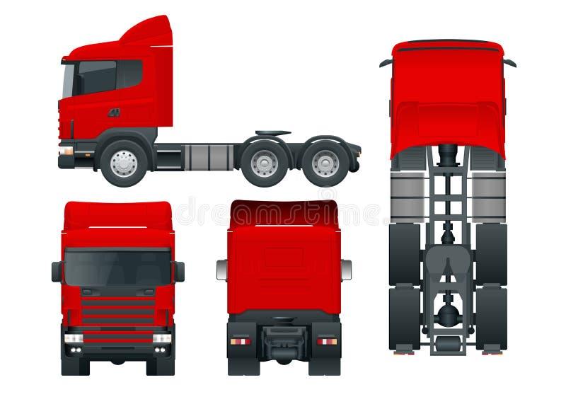 LKW-Traktor oder Sattelschlepper-LKW Die Fracht, die Fahrzeugschablonenvektor liefert, lokalisierte Illustration Ansichtfront, Rü stock abbildung
