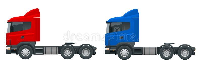 LKW-Traktor oder Sattelschlepper-LKW Fracht, die den Fahrzeugschablonenvektor lokalisiert auf weißer Ansichtseite liefert Ändern  vektor abbildung