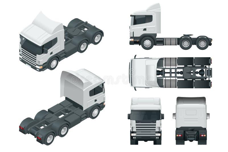 LKW-Traktor oder Sattelschlepper-LKW Sehen Sie die vordere, hintere, Seiten-, Spitzen- und isometry Front an, hinter Fracht, die  lizenzfreie abbildung