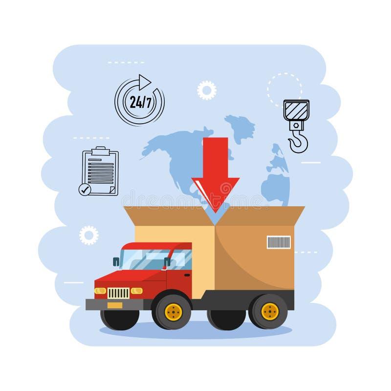 LKW-Transport mit Kastenpaketverteilung lizenzfreie abbildung