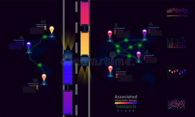 LKW transportiert des Fabrikweltkartekennzeichen-Punktes des verbundenes Unternehmen infographic Entwurf mit zusammenfassender Di stock abbildung