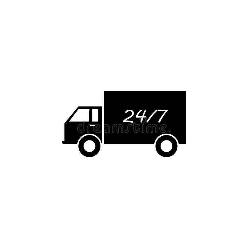 LKW und 24/7 Ikone Element der Logistikikone Erstklassige Qualitätsgrafikdesignikone Zeichen und Symbolsammlungsikone für Website vektor abbildung