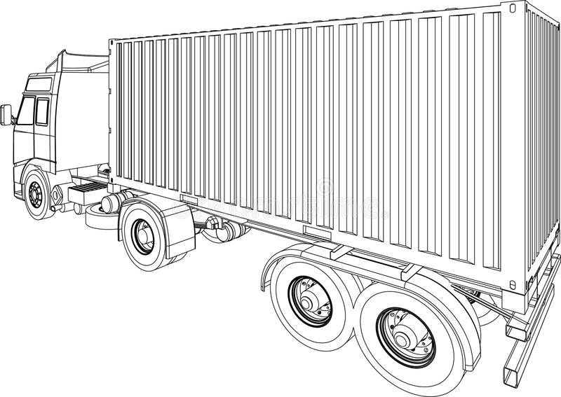LKW- und Schlussteilbehälterpackwagen stock abbildung