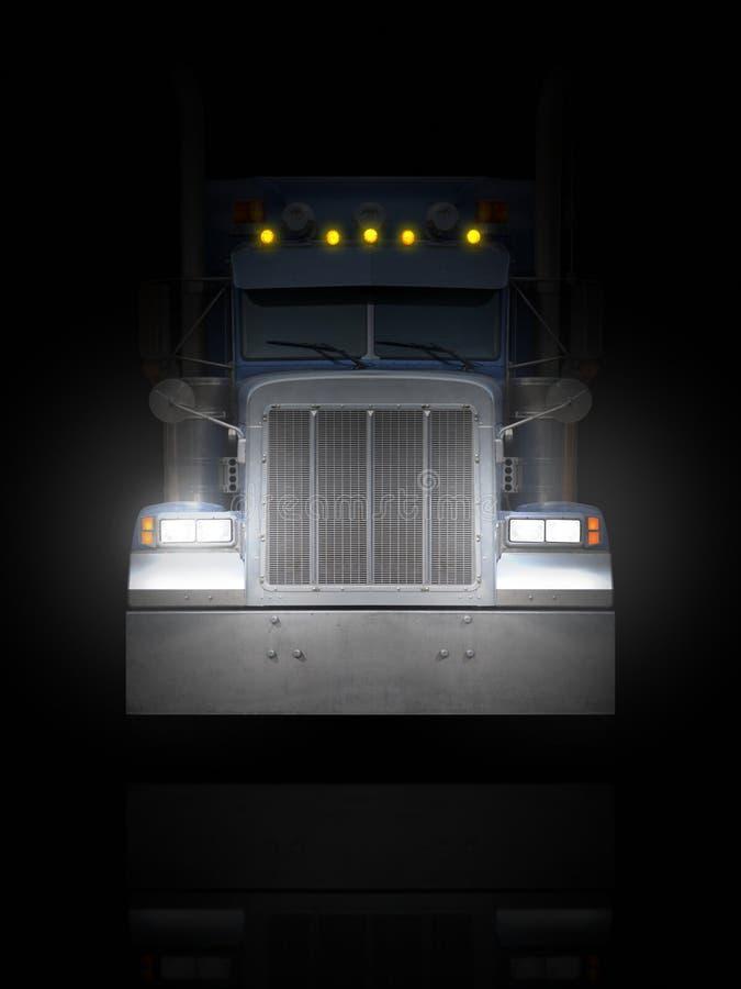 LKW vorderes Peterbilt in der Dunkelheit stock abbildung