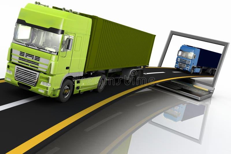 LKWs auf der Autobahn, die aus einen Laptop herauskommt vektor abbildung