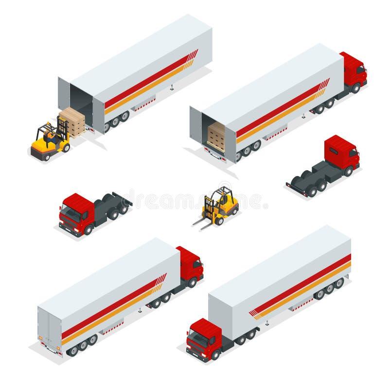 LKWs Vector isometrischen Transport Nutzfahrzeug Lieferwagen Flacher Artvektorillustrations-Zustelldienst stock abbildung