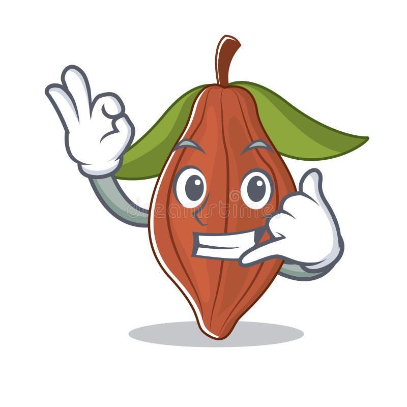 Llámeme historieta de la mascota de la haba del cacao stock de ilustración