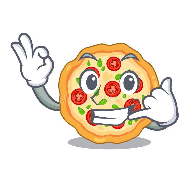 Llámeme pizza del margherita en la forma de la mascota libre illustration