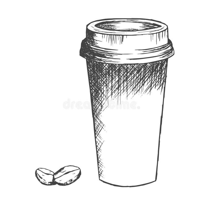 Llévese el bosquejo de la taza y de las habas de café ilustración del vector