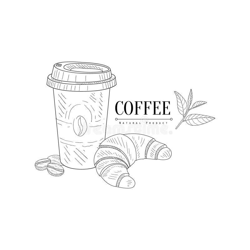 Llévese el bosquejo realista dibujado mano del café y del cruasán libre illustration