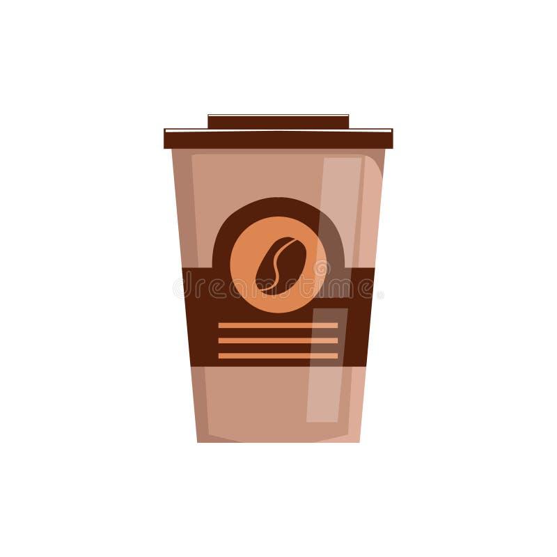 Llévese el café en icono aislado del vector de la taza de papel del sistema de elementos del menú del surtido de las bebidas de l ilustración del vector