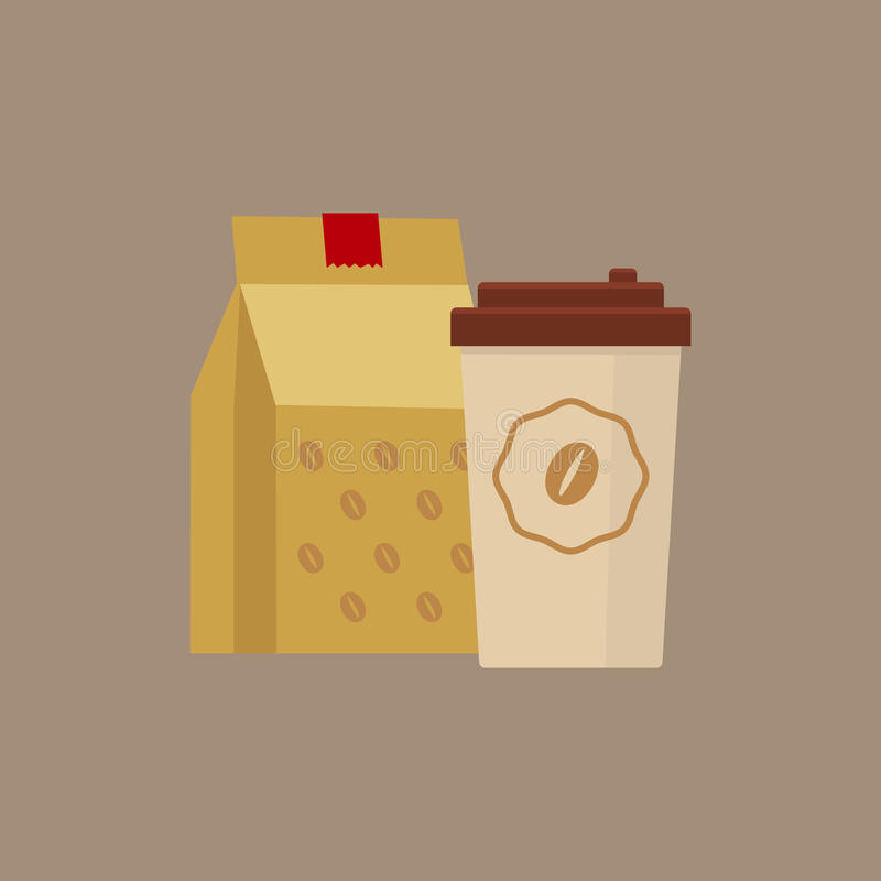Llévese el ejemplo simplificado café stock de ilustración