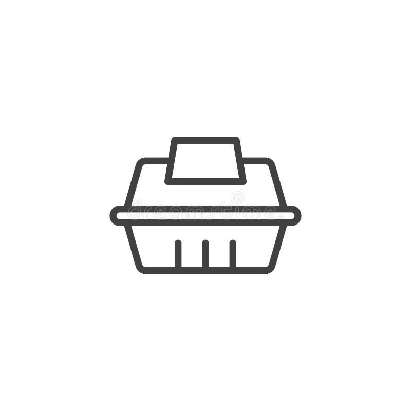 Llévese el icono del esquema del envase de comida ilustración del vector