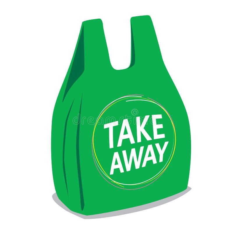 Llévese la bolsa de plástico stock de ilustración