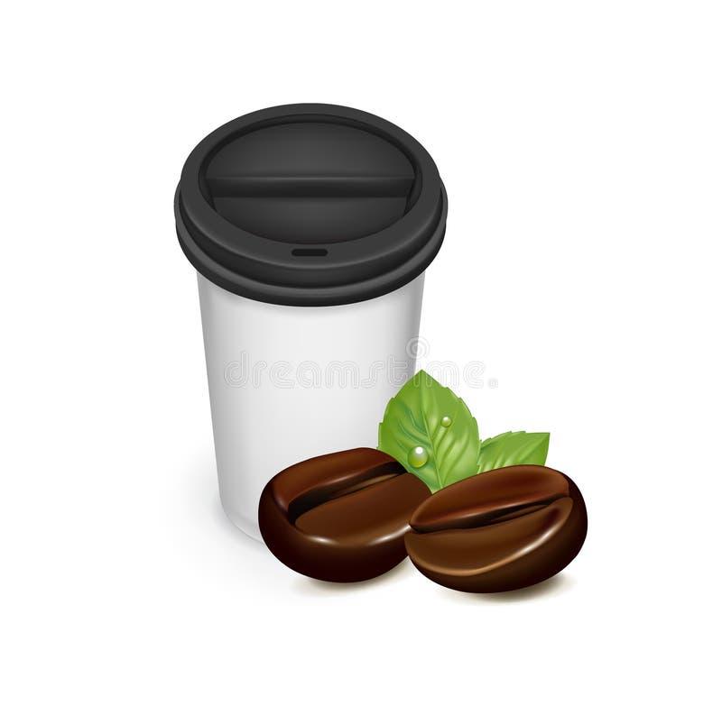 Llévese la taza de café con los granos de café stock de ilustración
