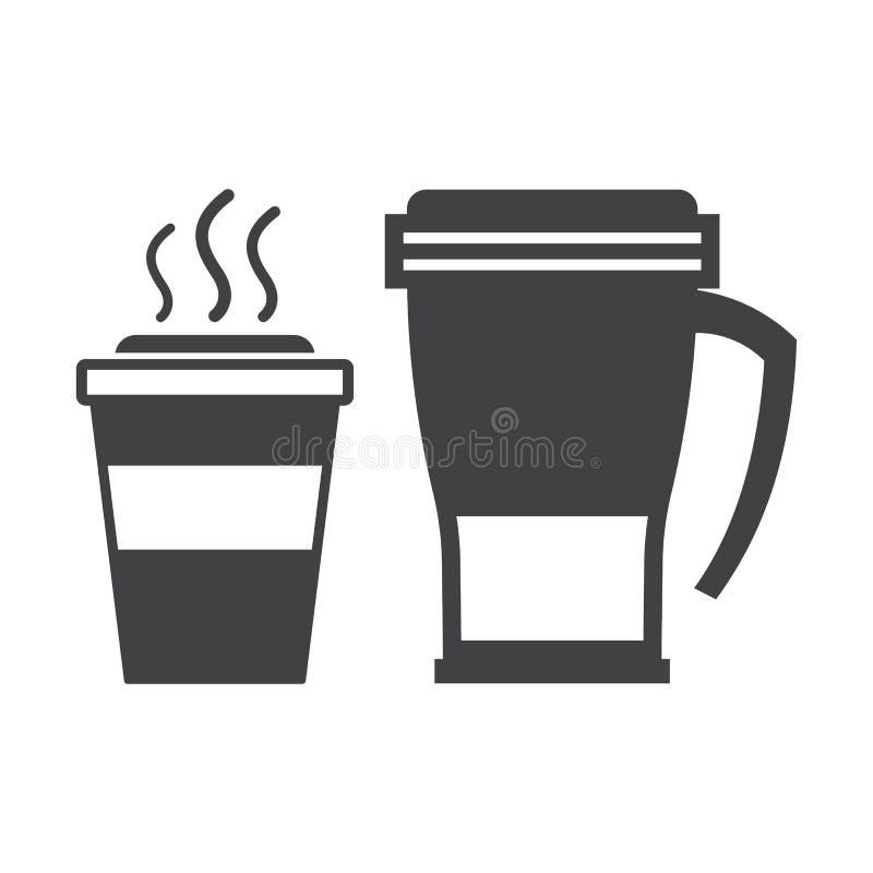 Llévese la taza de café y la taza del viaje libre illustration