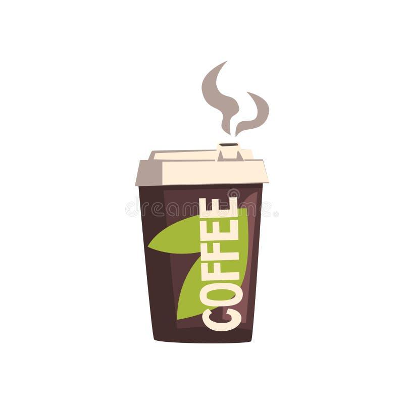 Llévese la taza de la cartulina del café con el ejemplo del vector de la tapa en un fondo blanco ilustración del vector
