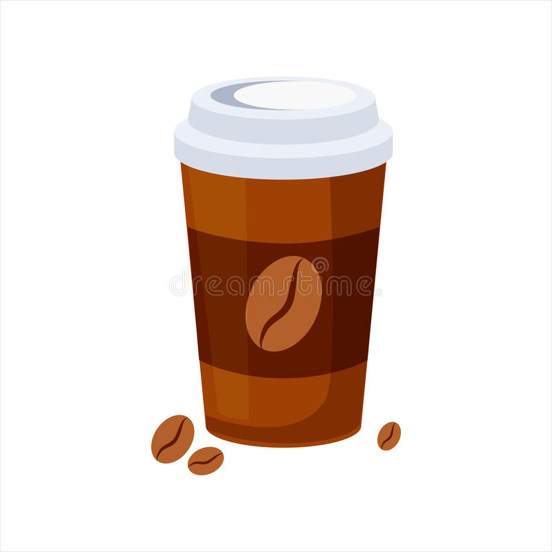Llévese la taza de papel del café, icono colorido del vector del elemento del menú del café de los alimentos de preparación rápid stock de ilustración