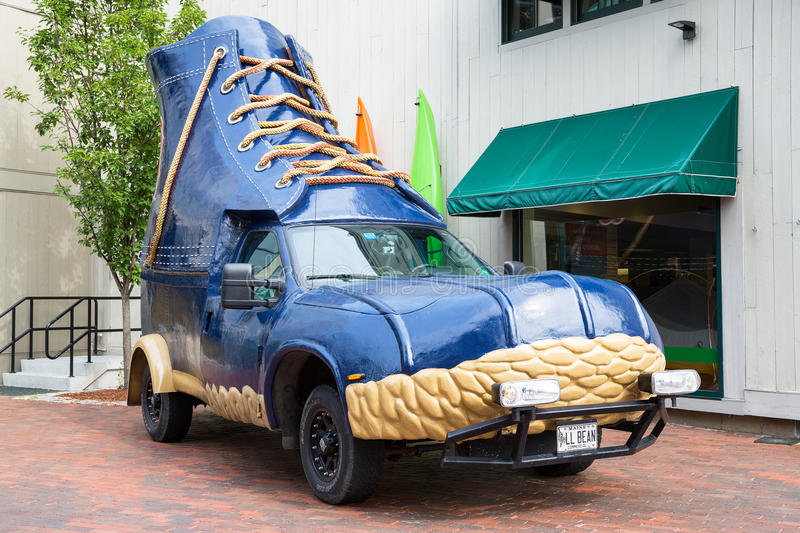 LL Bean boot vehicle. FREEPORT, MAINE, USA-AUG 31st, 2014: L.L. Bean is retail company founded in 1912 by Leon Leonwood Bean. A replica of its famous boot has stock images
