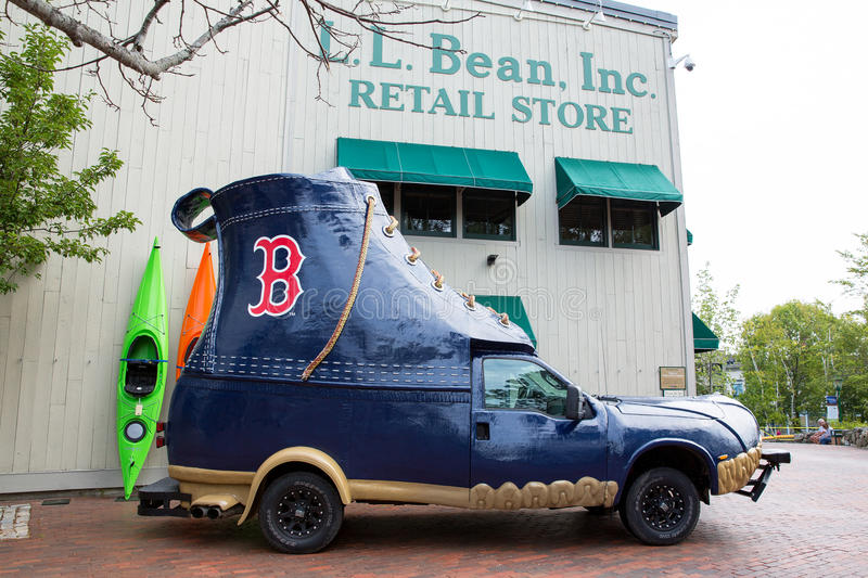 LL Bean boot vehicle. FREEPORT, MAINE, USA-AUG 31st, 2014: L.L. Bean is retail company founded in 1912 by Leon Leonwood Bean. A replica of its famous boot has royalty free stock images