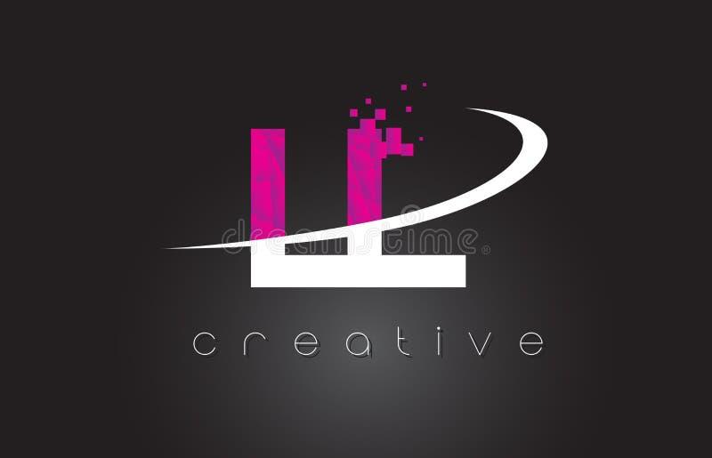 LL Creatief de Brievenontwerp van L met Witte Roze Kleuren royalty-vrije illustratie