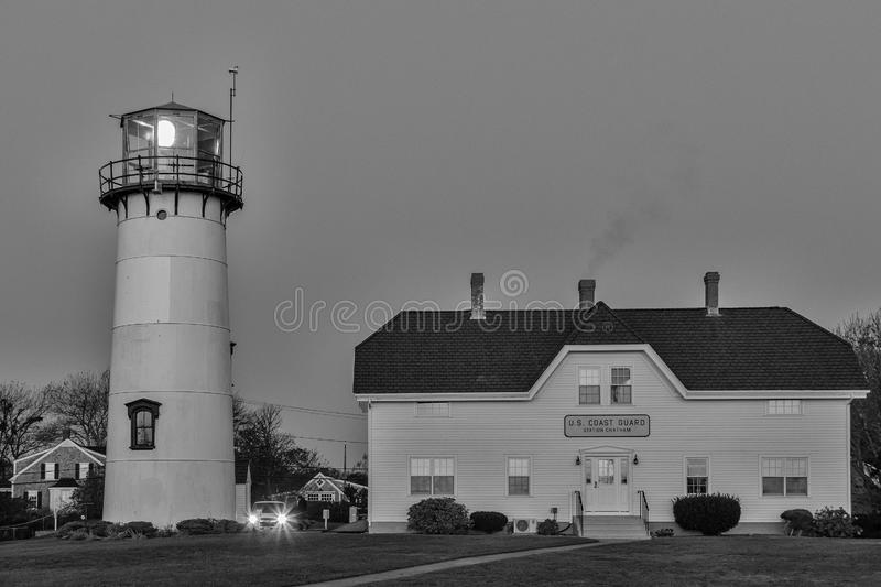 We`ll keep the lights on. Black and white of Chatham Light Coast Guard station in Chatham, Cape Cod, Massachusetts royalty free stock photos
