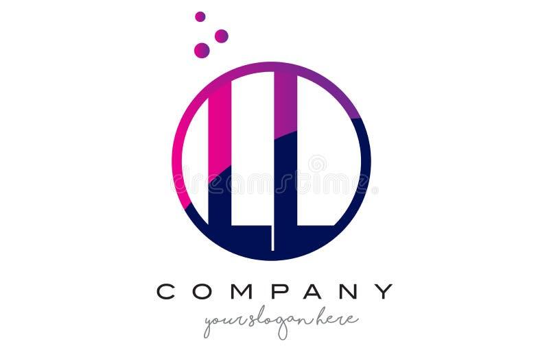 LL L letra Logo Design do círculo com Dots Bubbles roxo ilustração do vetor