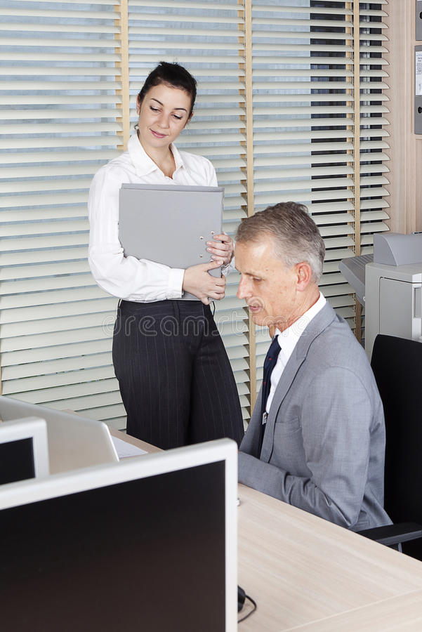 Only`ll watch. Business person at work royalty free stock images