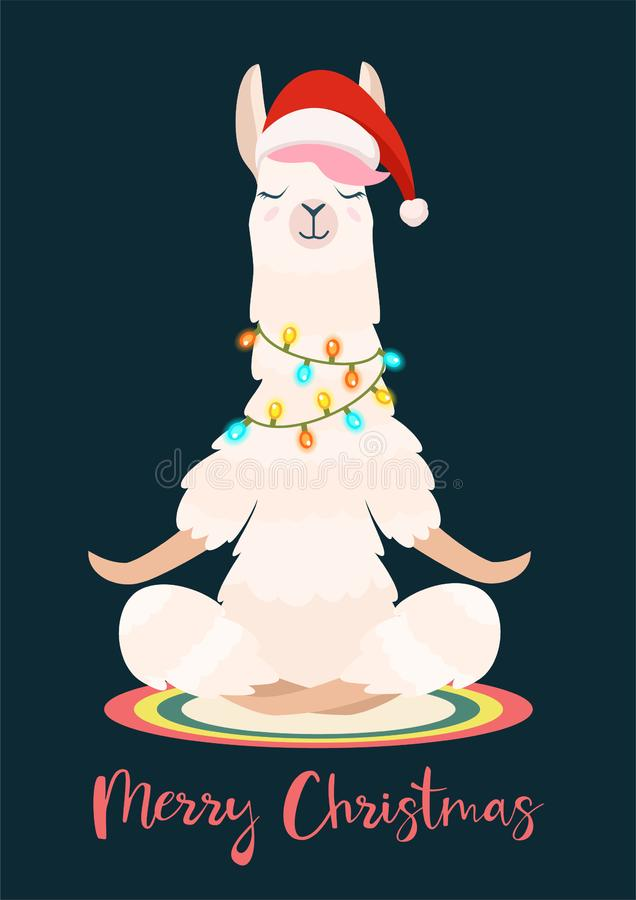 Llama γιόγκας Χριστουγέννων meditates επίσης corel σύρετε το διάνυσμα απεικόνισης Αστεία εορταστική ευχετήρια κάρτα απεικόνιση αποθεμάτων