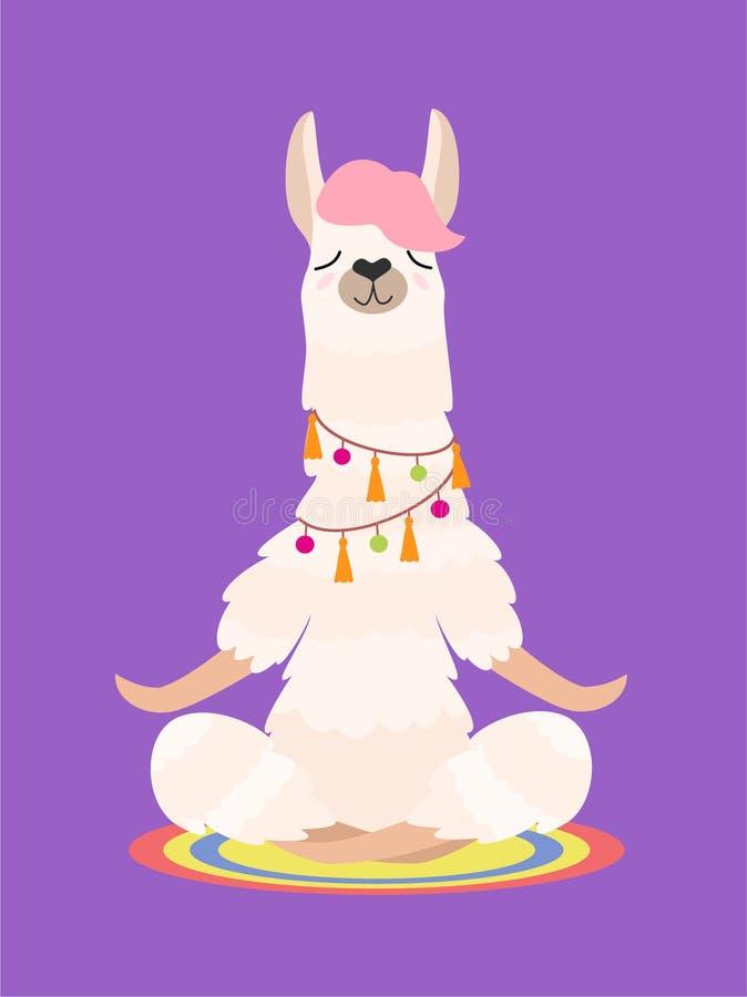 Llama γιόγκας meditates που απομονώνεται στο πορφυρό υπόβαθρο επίσης corel σύρετε το διάνυσμα απεικόνισης διανυσματική απεικόνιση